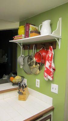 DIY: Pot Rack with Cookbook Shelf.