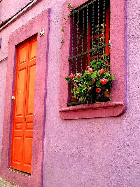 pink house. orange door.