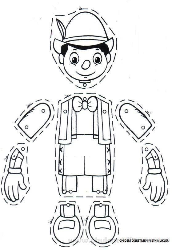 Pinokyo Kuklamizi Oynatalim Hayalbaz Olalim Okul Oncesi Etkinlikleri Pinocchio Kuklalar Boyama Sayfalari