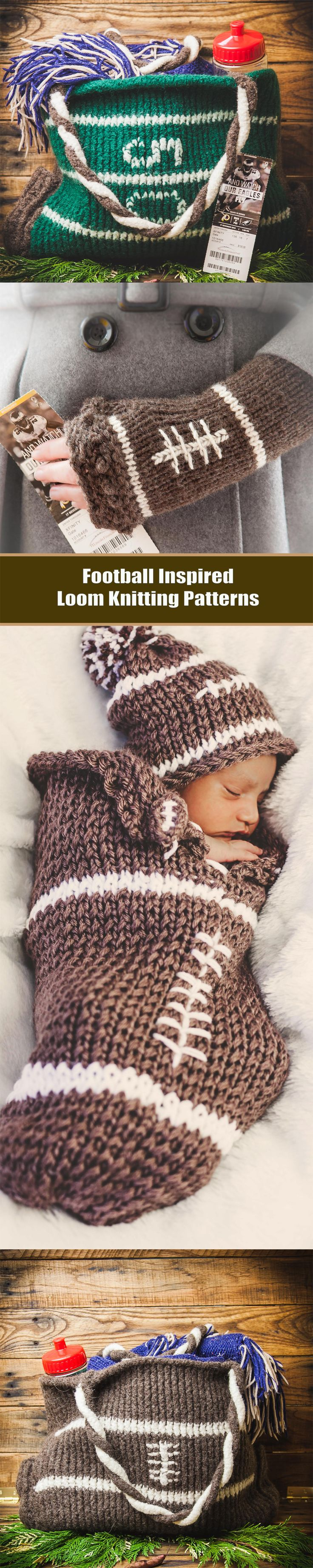 Football Inspired Loom Knitting Patterns. Loom Knit Totes, Mitts, Newborn Cocoons, Ipad/kindle Covers.