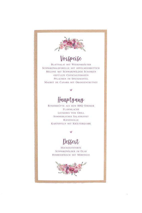 Menukarten Hochzeit Buffettkarten Speisekarten Essenskarten Menu Cards Cards Place Card Holders