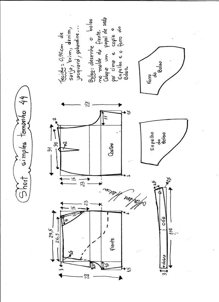 Esquema de modelagem de short simples cós médio tamanho 44.