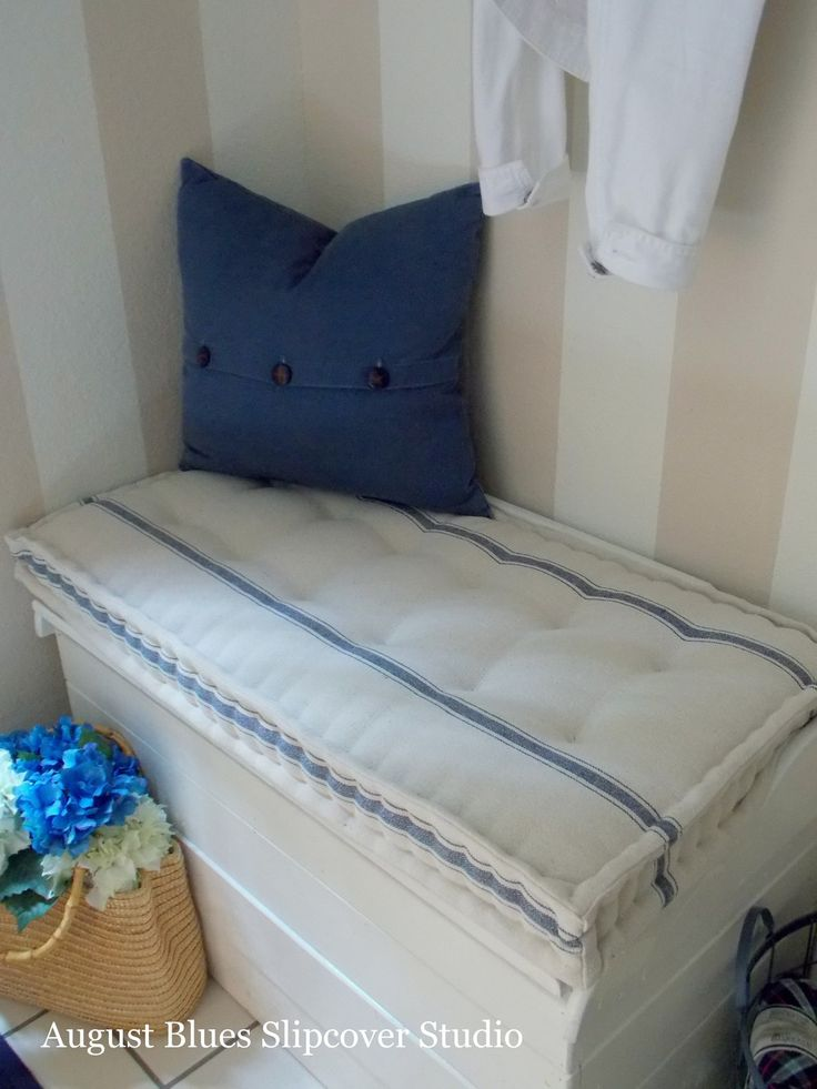 August Blues - French Mattress -style Cushions  I promised this post some time ago, after I did these cushions for a client ...  ... French mattress cushions! I finally got around to making my own, and  now I have the tutorial for you as well :)  For this project, I made a new cushion for a bench/trunk that lives by our  front door (you can see the space here, with the original cushion). As soon  as I had a chance to work with the feedsack fabric from Decor Steals, I  knew that was the…