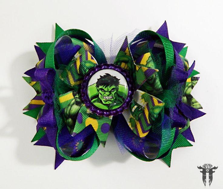 "The Hulk Avengers Purple Green Stacked OTT Hair Bow 5"" Super Hero Bruce Banner #FemmortalFashions"