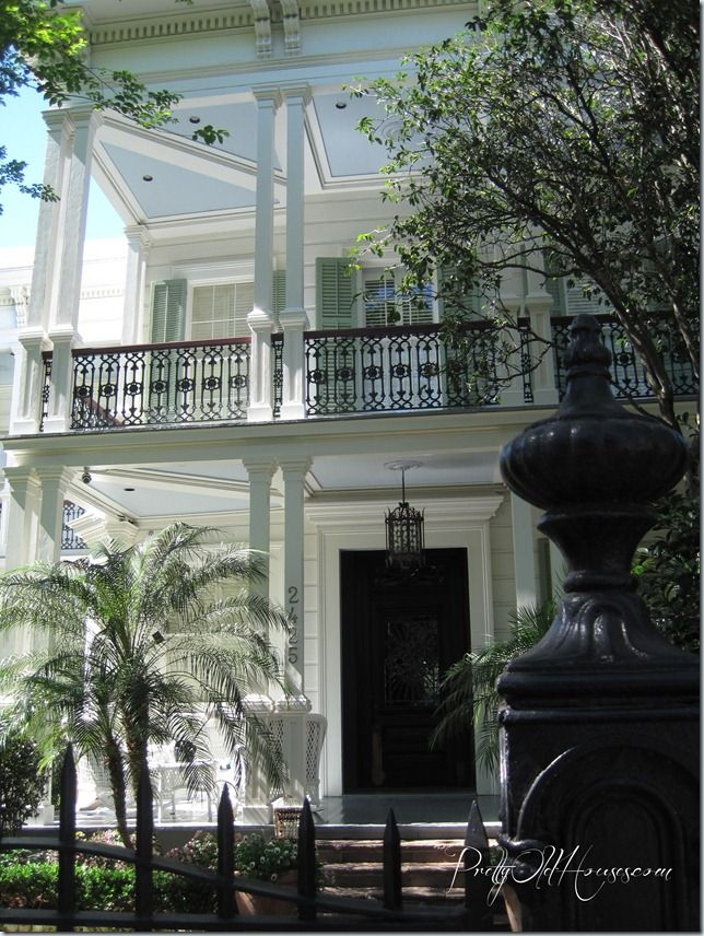 Southern style - New Orleans.  Porches/balconies with blue ceilings.