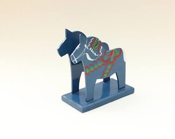 Decorative vintage blue Dala horse napkin holder. Made by