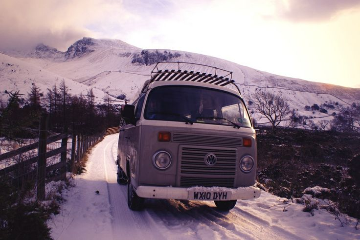 Babs sporting the snow chains on a winter camping trip to the Lake District - Scafell Pike