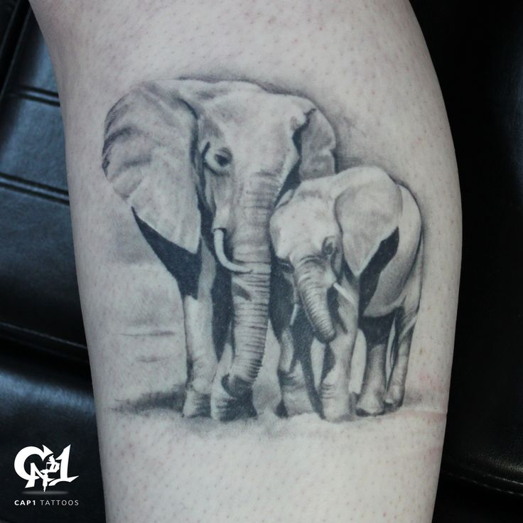 Black and Gray Realistic Elephants | @tattoosbycapone | www.cap1tattoos.com