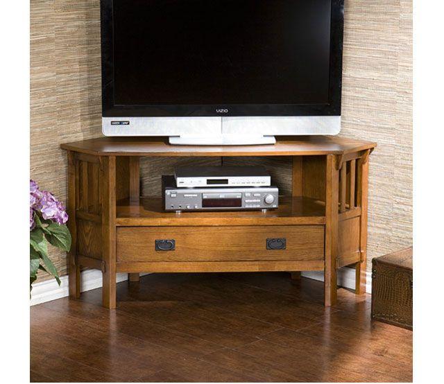Oak Corner Media Stand   Put Those Corners To Work! This Corner Media Stand  Is