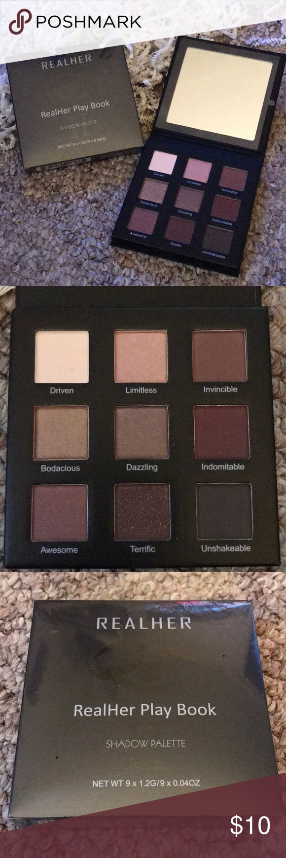 FabFitFun RealHer Play Book Eyeshadow Pallate RealHer eyeshadow palette from my FabFitFun Editors Box, Winter 2017. It's brand new, still sealed in plastic. The photo of the open palette is mine, I got one box as a gift after I purchased one for myself, so I have two palettes. I am selling the new and unopened one. Open to all reasonable offers. RealHer Makeup Eyeshadow
