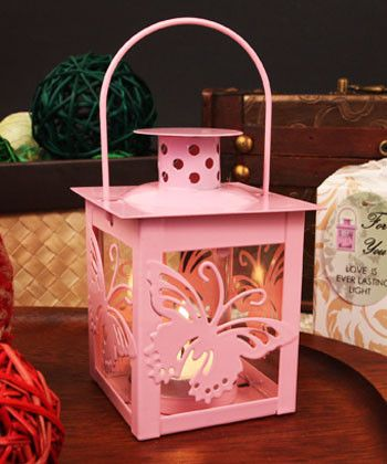 """Butterfly Light"" Glass Windowed Pink Butterfly Adorned Steel Lantern with Tea Light Candle"