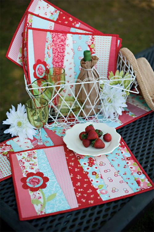 Quilt As You Go, Fresh Blooms Placemats and Runner from Fast & Furious Family book by GE Designs