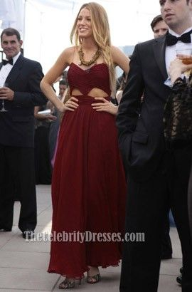 Blake Lively Burgundy Cut Out Prom Dress Gossip Girl Fashion - TheCelebrityDresses