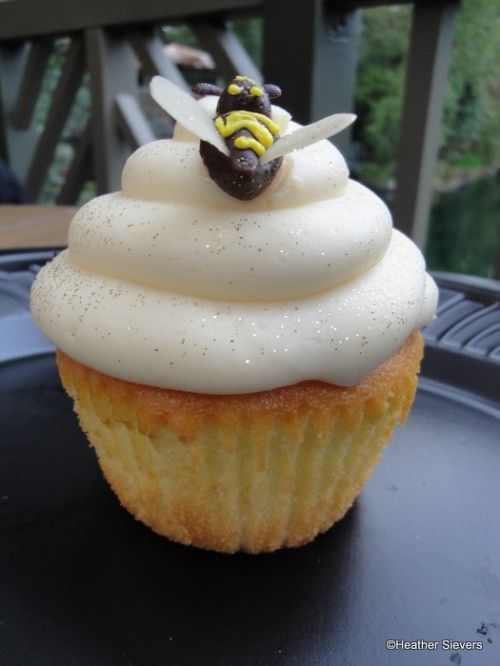 Recipe for the Honey Lemon Bumblebee Cupcake from Hungry Bear Restaurant at Disneyland.  What a cute idea for spring or summer!