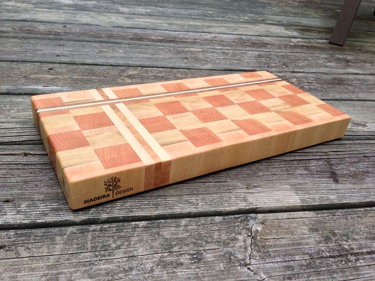 Cherry and hard maple end grain cutting Board with maple burl and walnut accent