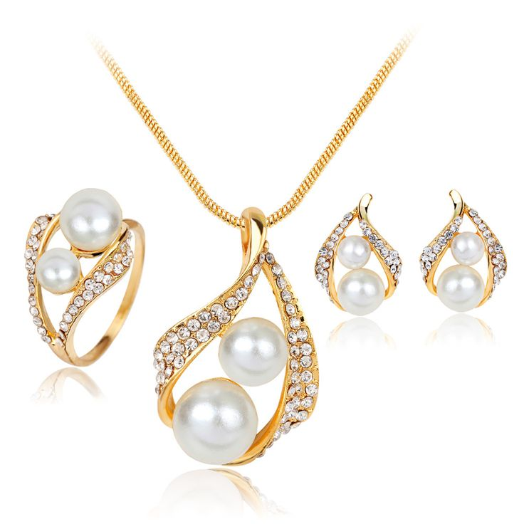 Necklace Earrings Ring Gold Plated Jewelry Set For Women Simulated Pearl Vintage Bridal Wedding Imitation Crystal Accessories