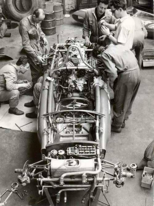 1961. Working around a Ferrari 156 F1