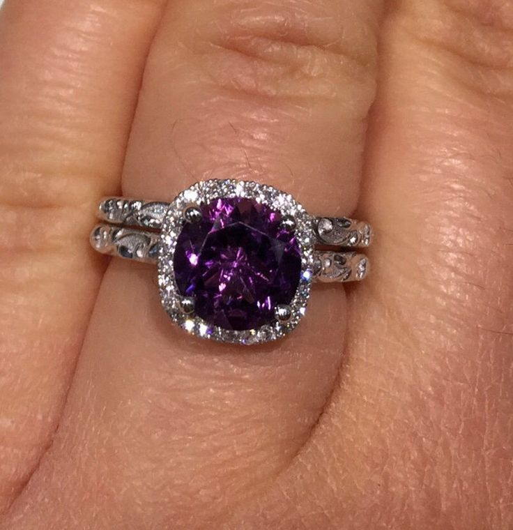Amethyst rings, Purple amethyst stone rings set, Diamond Rings set, Leaf and Vine Engagement Ring and Its Perfect Matching Wedding Band by BridalRings on Etsy https://www.etsy.com/listing/486264308/amethyst-rings-purple-amethyst-stone