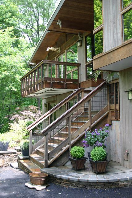 deck stair railing Exterior Rustic with balcony eaves fish ponds flagstone hardscaping John Magee koi
