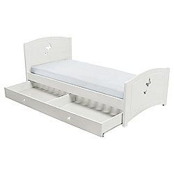 Butterfly Single Wooden Bed Frame with Drawer Storage, White