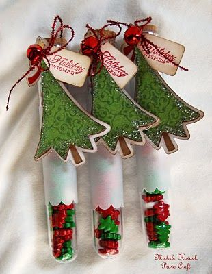 Test tubes filled with Christmas candies! Trees/tags were cut using my Cricut.