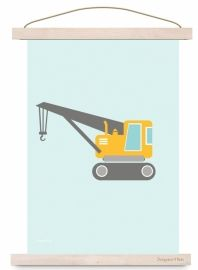 Poster kraanwagen auto voor kinderkamer babykamer in kleuren #mint #mintgroen #geel #grijs