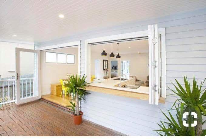 Kitchen window and side door