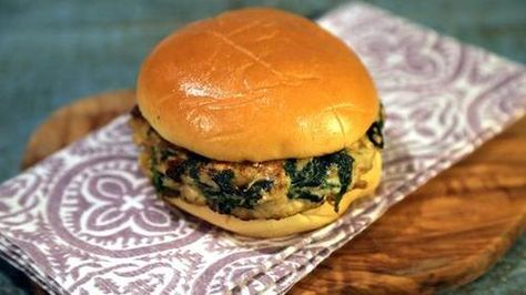 """Spanakopita Burgers (Dialed-Up Dishes in a Dash) - Noreen Palinkas, Viewer Submission, prepared by Clinton Kelly, """"The Chew"""" on ABC."""