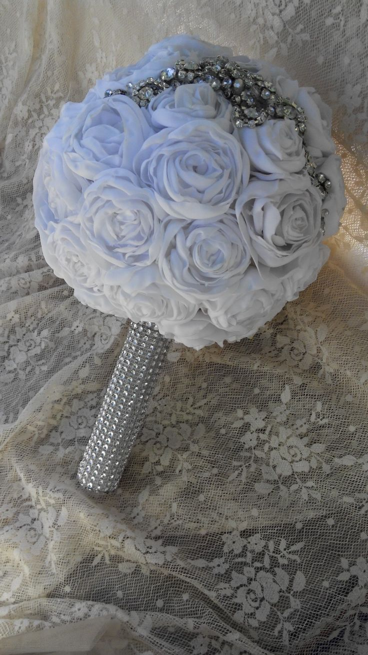 Handmade  fabric bridal bouquet with cristals