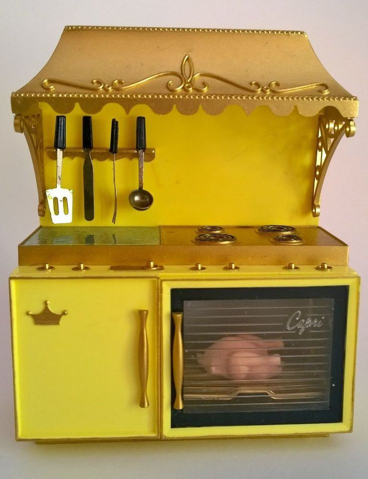 IDEAL PETITE PRINCESS DOLL HOUSE KITCHEN RANGE/ OVEN/ STOVE~1960s~VERY HTF #Ideal