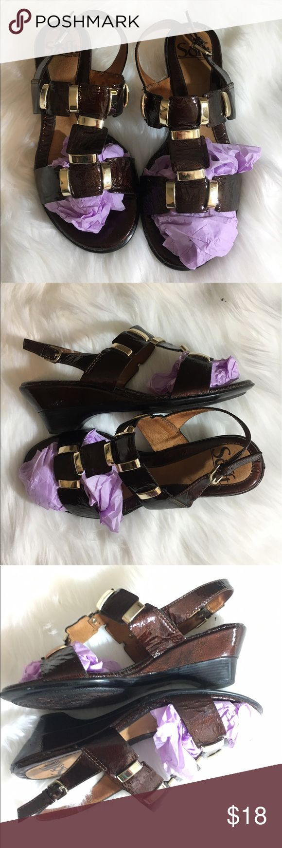 Sofft Sandals Brown Patent Leather Gold Square Sofft Sandals Brown Patent Leather Slip On Gold Square Women's Size 5 Medium •	Sz 5 Medium 	•	Strap Back 	•	Gold Details 	•	From back heal to front measure 9 Inches Sofft Shoes Sandals