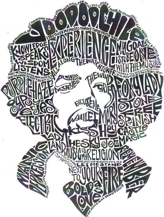 Jimi Hendrix <3 inspired word art. Amazing.