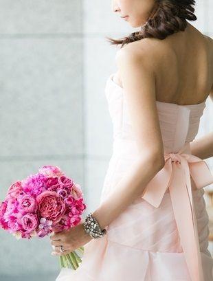 【新婦様からのお写真】ピンクのピオニーブーケ|Flower note の 花日記 (横浜・上大岡 アレンジメント教室)