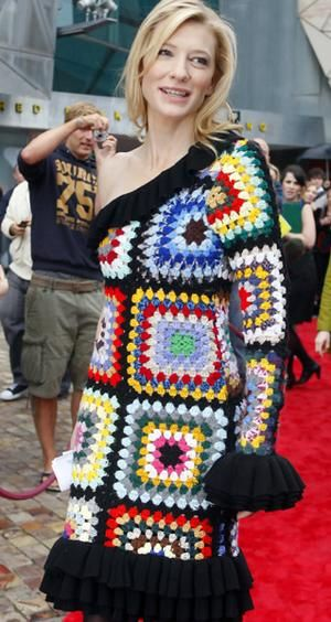 Cate Blanchett Crochet Dress.  You're a star and have people dress you yet THIS is what you end up in.  Seriously?