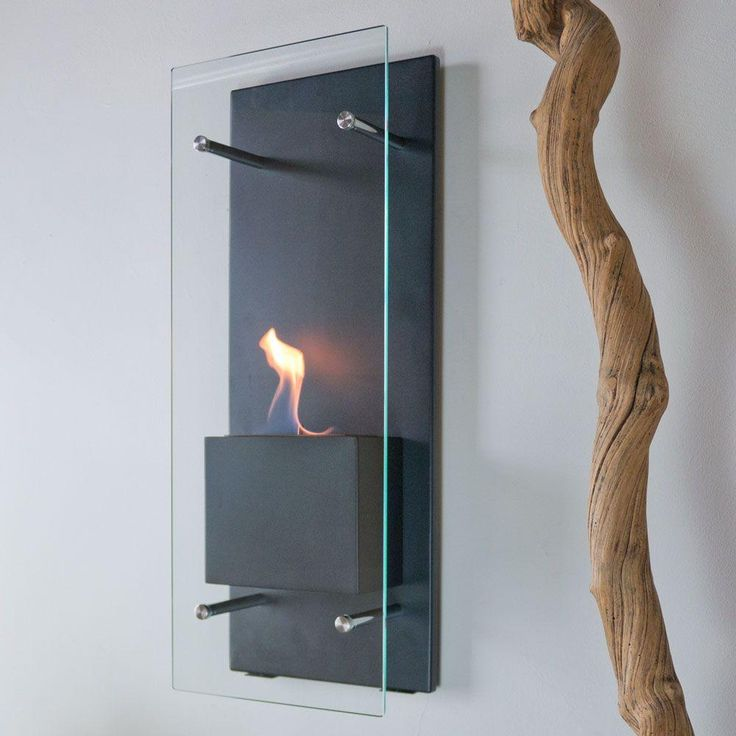 Wall Mount Decorative Bio Ethanol Fireplace In Matte Black
