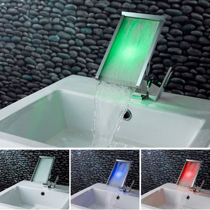 Best LED Basin Tap Images On Pinterest Waterfalls Bathroom - Waterfall faucet for bathroom sink for bathroom decor ideas