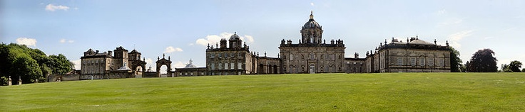 Castle Howard's northern facade -- The house is surrounded by a large estate which, at the time of the 7th Earl of Carlisle, covered over 13,000 acres (5,300 ha) and included the villages of Welburn, Bulmer, Slingsby, Terrington and Coneysthorpe. The estate was served by its own railway station, Castle Howard, from 1845 to the 1950s.