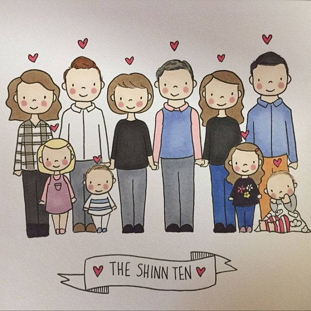 Custom Family Portrait Personalised Hand Drawn Illustration Etsy