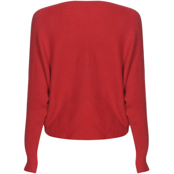 Yoins Red Sexy Pullover Bat Sleeves Loose Jumper (46 BAM) ❤ liked on Polyvore featuring tops, sweaters, red, loose fitting sweaters, red top, sexy sweaters, sexy jumper and one shoulder tops