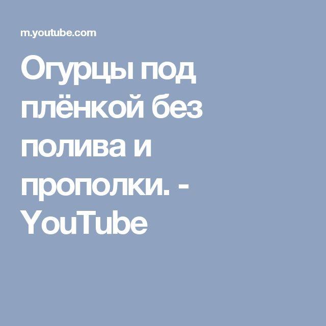 Огурцы под плёнкой без полива и прополки. - YouTube