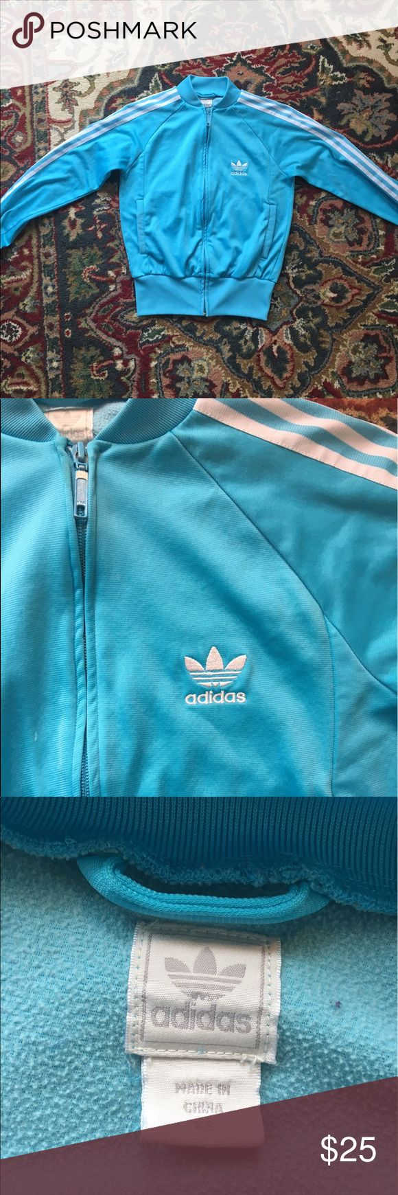 Vintage style 80s adidas track jacket baby blue Vintage style Carolina blue zip up track jacket. Adidas 3 stripes. Light aqua. Pockets! Great for your phone. Throwback style. Size XS women's Adidas Jackets & Coats