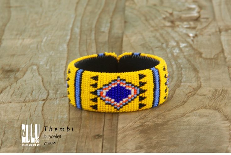 THEMBI - Zulu Beaded Bracelet YELLOW by ZuluBeadz on Etsy