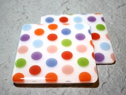polka dot fused glass - how cute are these????