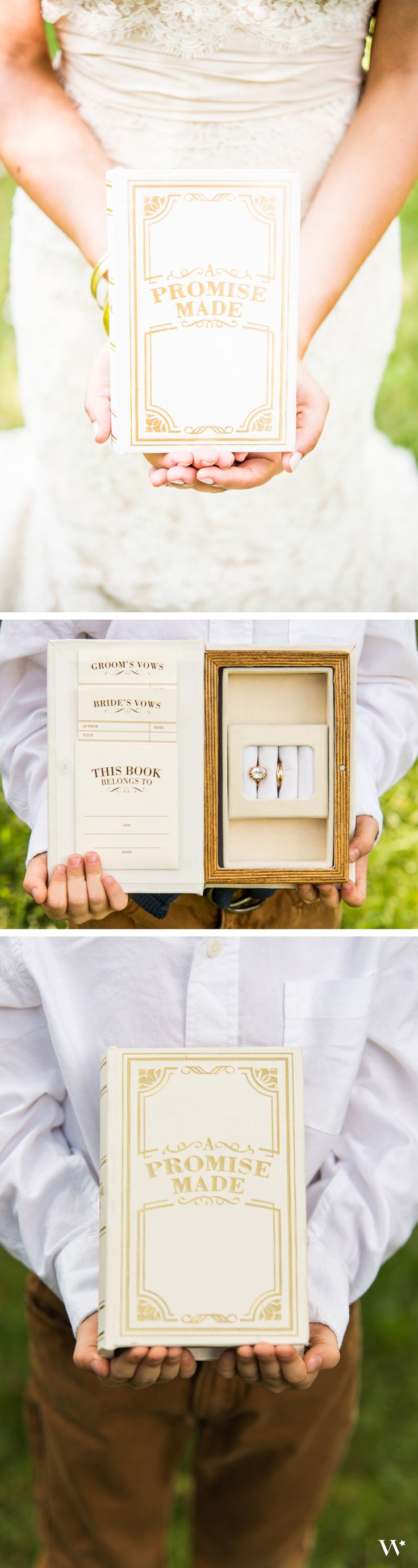 A great alternative to a traditional ring pillow - our Promise Made Vintage Inspired Ring Box will not only hold the rings, but your hand-written wedding vows as well!