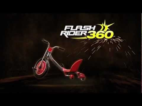 The FlashRider 360 turns, drifts, and sparks on this new and improved three wheeler. Riders engage the Spark Bar while riding for real sparking action and a flashy riding style. Now kids can spin and spark. Product features include revolutionary design and the ultimate spinning, drifting and sparking thrills. The Spark Bar has a replaceable Spark cartridge for real sparking action. It has rear, dual-inclined caster wheels for resistance-free drifting and 360 degree spinning action.