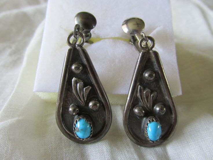 "Native American NAVAJO STERLING Screw Back EARRINGS Turquoise Accent Marked L Spencer 1970's Measure 2"" x .75"" Ladies Signed Collectible by GrammiesCupboard on Etsy"