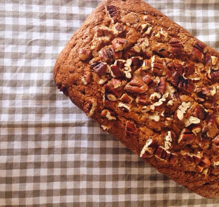 classic banana bread loaf  with roasted pecan and brown sugar topping