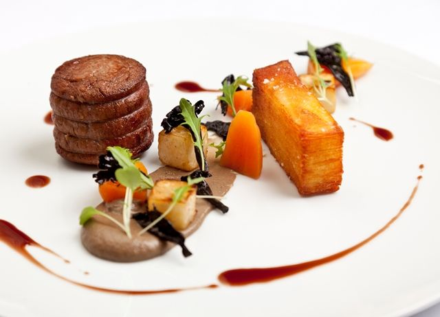 Fillet of grass-fed beef, pomme anna and mushroom purée