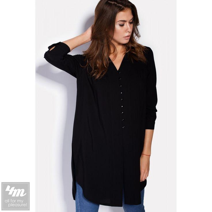 Блуза Cardo «VIA» Для выбора цвета и размера - перейдите в интернет-магазин: http://lnk.al/2zro Состав: Вискоза - 60%, Хлопок - 40% (штапель) Размер: XS(42) S(44)  M(46)  Черная длинная рубашка входит в гардероб тех девушек, которые знают толк в стиле и комфорте. Рубашка выполнена из штапеля и застегивается спереди маленькими пуговками. Укороченные рукава застегиваются аналогичными пуговками, расположенными на манжетах. Подол рубашки округлый, с глубокими разрезами по бокам.  На модели 44…