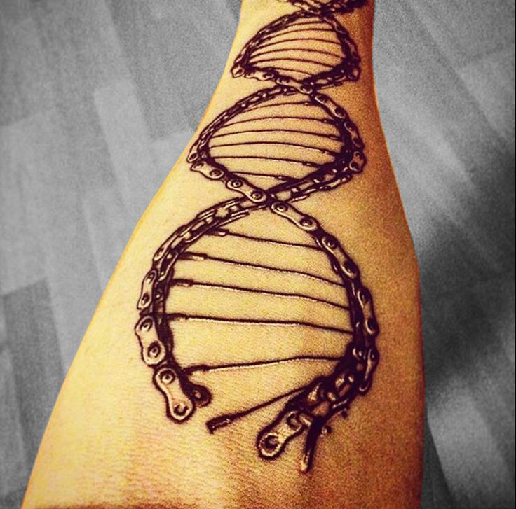 Cycology gear's DNA design tattooed on Stanislav.